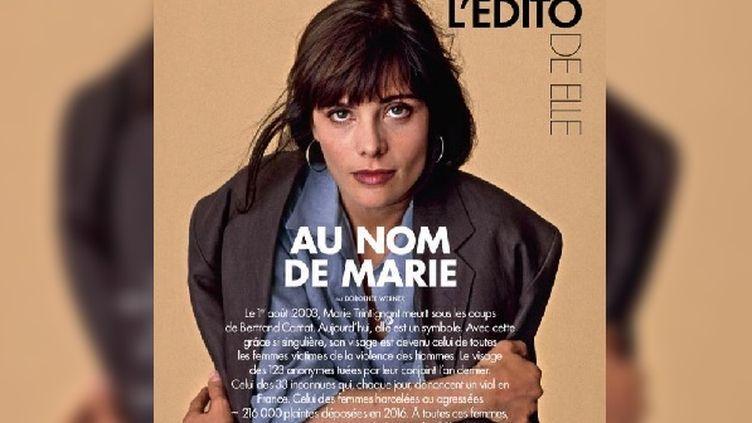 """Le magazine """"Elle"""" rend hommage à l'actrice Marie Trintignant, morte en août 2003, dans un plaidoyer contre les violences faites aux femmes. Une réponse adressée aux """"Inrocks"""", qui avaient consacré un dossier au chanteur Bertrand Cantat. (ELLE)"""
