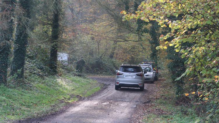 Le corps d'une jeune femme enceinte, âgée d'une trentaine d'années, a été retrouvé sur un chemin de la forêt de Retz, dans la commune de Saint-Pierre-Aigle, le 17 novembre 2019. (JULIEN ASSILY / MAXPPP)