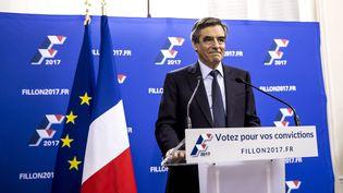 François Fillon lors de son discours de victoire au premier tour de la primaire de la droite et du centre, dimanche 20 novembre 2016. (VINCENT ISORE / MAXPPP)