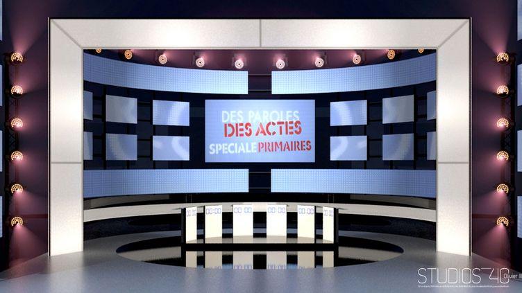 Le plateau de télévision où débattront les six candidats à la primaire socialiste, jeudi 15 septembre à partir de 20h35. (Studios40)