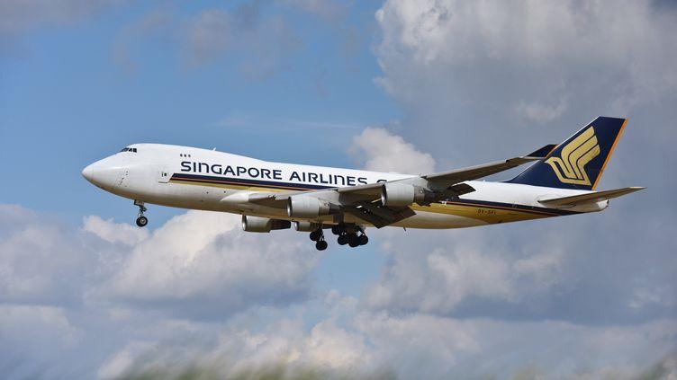 Un avion de la compagnie Singapore Airlines décolle de l'aéroport de Bruxelles (Belgique), le 29 mars 2018. (JEAN-LUC FLEMAL / BELGA MAG / AFP)