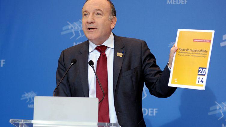Pierre Gattaz, patron du Medef, le 18 février 2013 à Paris. (ERIC PIERMONT / AFP)