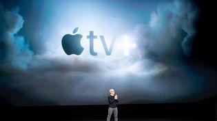 Présentation d'Apple tv+ par Kim Cook le patron d'Apple à Cupertino (Californie), le 25 mars 2019. (NOAH BERGER / AFP)