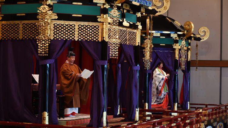 L'empereur Naruhito proclame son intronisation, le 22 octobre 2019 à Tokyo (Japon). (KAZUHIRO NOGI / POOL / AFP)