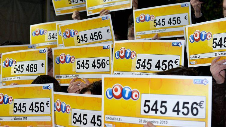 Les vingt-deux gagnants du Loto posent avec leurs chèques à Vitré (Ille-et-Vilaine), le 25 janvier 2015. (MAXPPP)