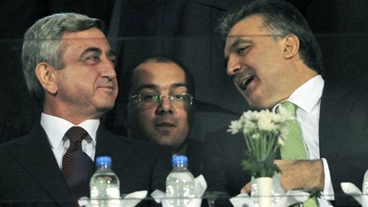 Le président arménien, Serzh Sarkisian et son homologue turc, Abdullah Gül, 14 octobre 2009 (AFP Mustafa Ozer)