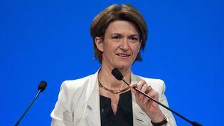Isabelle Kocher, future directrice exécutive d'Engie, à l'assemblée générale du groupe, le 3 mai 2016 à Paris. (PHILIPPE LOPEZ / AFP)