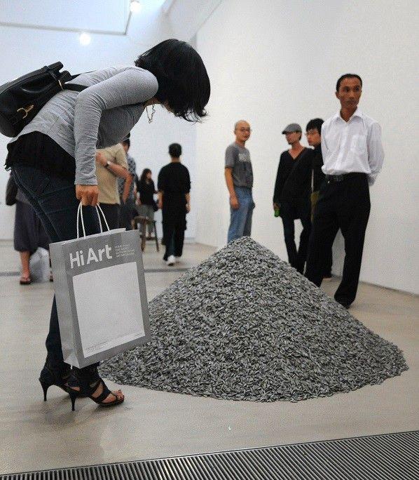 """""""Nid d'oiseau"""" oeuvre présentée à la biennale de Pékin en 2009  (LILIAN WU / FILES AFP / AFP)"""