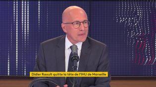 Eric Ciotti, député LR des Alpes-Maritimes et candidat à la primaire de la droite, est l'invité du 8h30 franceinfo, mardi 31 août. (FRANCEINFO / RADIOFRANCE)
