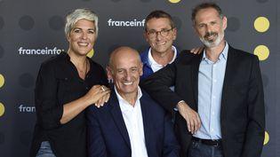 """Le """"8h30 Aphatie"""" sur franceinfo avec aux manettes de gauche à droite : Fabienne Sintes, Jean-Michel Aphatie,Guy BirenbaumetGilles Bornstein (CHRISTOPHE ABRAMOWITZ/RADIO FRANCE)"""