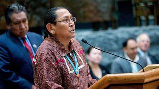 Kurt Riley, gouverneur de la tribu Acoma, s'exprime sur la vente aux enchères d'objets sacrés indiens, lors d'une conférence au Smithsonian National Museum, à Washington, le 24 mai 2016.  (Andrew Harnik / AP / Sipa)