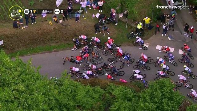 Arnaud Démare impliqué dans une chute à l'approche du sprint final