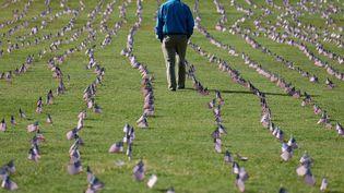 Un mémorial en hommage aux victimes du Covid-19 à Washington, aux Etats-Unis, le 22 septembre 2020. (WIN MCNAMEE / GETTY IMAGES NORTH AMERICA / AFP)
