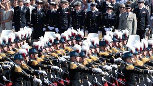 Les membres de l'Ecole spéciale militaire défilent à Paris, le 14 juillet 2017. (JOEL SAGET / AFP)