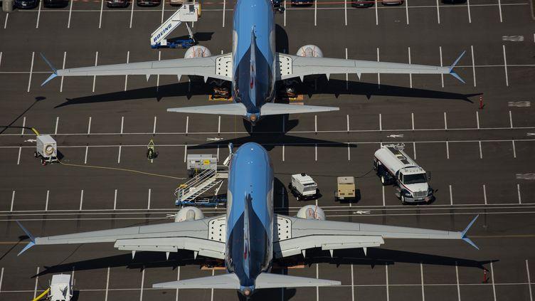 Des Boeing 737 MAX à l'aéroport de Seattle (Etats-Unis), le 11 février 2020. (DAVID RYDER / GETTY IMAGES NORTH AMERICA / AFP)