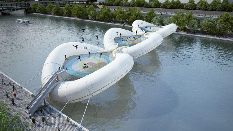Le pont imaginé par l'Atelier Zündel Cristea, dans le cadre du concours Pont à Paris, organisé par Archtriumph. (AZC)