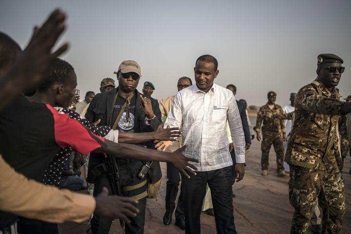 Le premier ministre malien Boubou Cisse en visite à Sévaré (centre du Mali) le 3juillet 2019 (MARCO LONGARI / AFP)