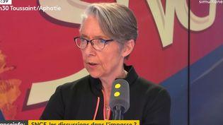 Elisabeth Borne, ministre des Transports, invitée le 6 avril de franceinfo. (RADIO FRANCE / FRANCE INFO)