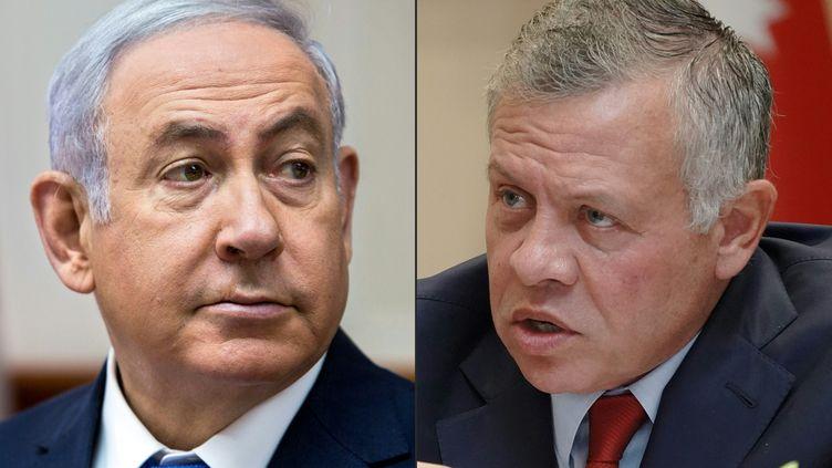 Benyamin Netanyahou etle roi Abdallah II de Jordanie. (SEBASTIAN SCHEINER / JORDANIAN ROYAL PALACE / AFP)