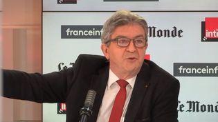 """Jean-Luc Mélenchon était l'invité de """"Questions politiques"""", dimanche 6 juin 2021. (FRANCEINFO / RADIO FRANCE)"""