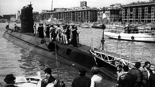 """Le sous-marin français """"La Minerve"""", en rade de Toulon (Var). (AGASM section Rubis / FRANCEINFO)"""