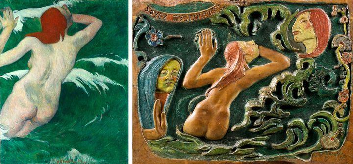 """A gauche, Paul Gauguin, """"Dans les vagues"""", 1889, huile sur toile, Cleveland, The Cleveland Museum of Art, don de Mr et Mme William Powell Jones - A droite, Paul Gauguin, """"Soyez mystérieuses"""", 1890, bois de tilleul, Paris, musée d'Orsay  (A gauche © The Cleveland Museum of Art - A droite © Rmn-Grand Palais (musée d'Orsay) / Tony Querrec)"""