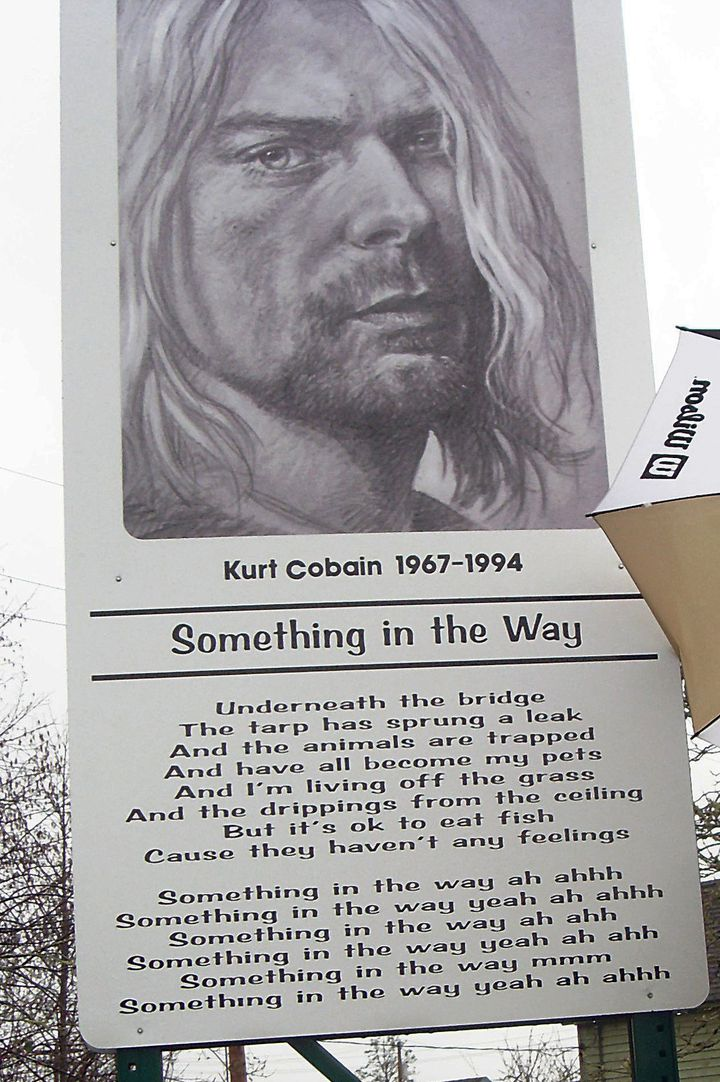 Kurt Cobain : plaque commémorative à Aberdeen  (MARCO MIERKE / DPA / DPA/AFP)