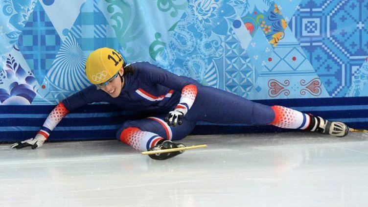 Véronique Pierron au sol sur le 500m des JO