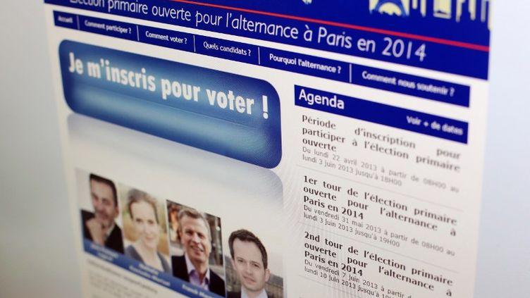 Le site internet de l'UMP, invitant les militants à voter pour désigner le candidat du parti aux municipales de 2014, le 1er juin 2013. (THOMAS SAMSON / AFP)