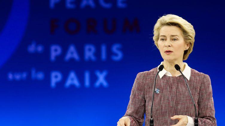 La présidente de la Commission européenne, Ursula von der Leyen, lors duForumdeParissur laPaix, le 12 novembre 2019 à Paris. (LUDOVIC MARIN / POOL)