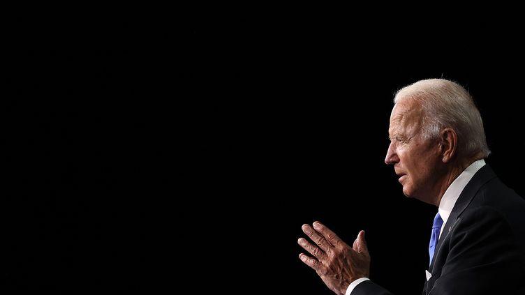 Joe Biden lors de son discours de clôture de la convention nationale démocrate, diffusé en direct depuis Wilmington, dans le Delaware (Etats-Unis), le 21 août 2020. (WIN MCNAMEE / GETTY IMAGES NORTH AMERICA)