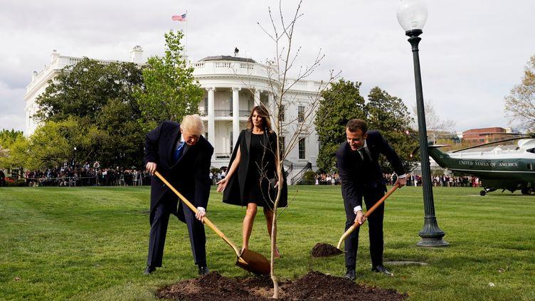 Le président américain, Donald Trump, et le président français, Emmanuel Macron, le 23 avril 2018 à Washington (Etats-Unis). (JOSHUA ROBERTS / REUTERS)