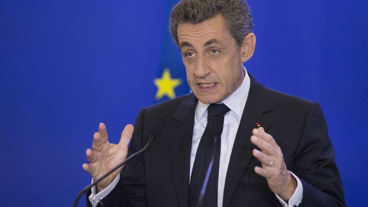L'ancien président Nicolas Sarkozy lors d'un discours au siège des Républicains, le 24 juin 2016, à Paris. (GEOFFROY VAN DER HASSELT / AFP)