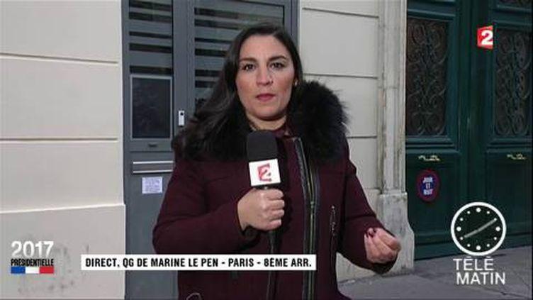 Alexandra Uzan, envoyée spéciale de France 2 devant le QG du FN. (FRANCE 2)