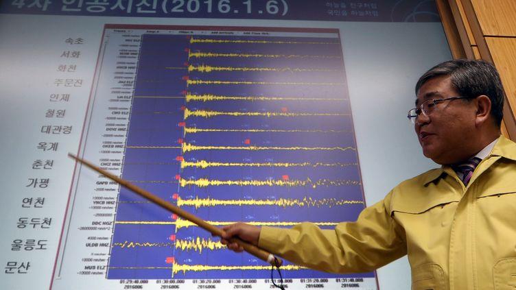 Ko Yun-Hwa, administrateur du service météorologique sud-coréen, présente les relevés d'activité sismique après l'annonce d'un essai nucléaire nord-coréen, le 6 janvier 2016 à Séoul (Corée du Sud). (YONHAP / YONHAP / AFP)
