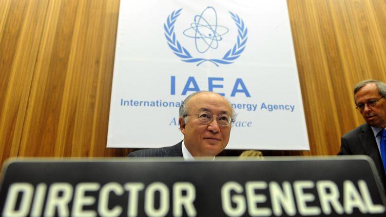 Le directeur général de l'Agence internationale de l'énergie atomique Yukiya Amano, à Vienne (Autriche) le 26 septembre. (SAMUEL KUBANI / AFP)