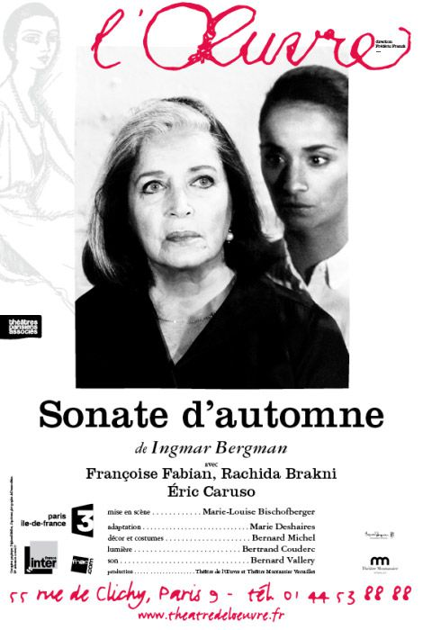"""L'affiche de """"Sonate d'Automne""""  (Théâtre de l'Oeuvre)"""