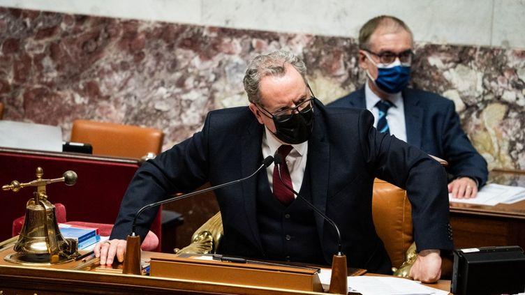 Le président de l'Assemblée nationale, Richard Ferrand, dans l'Hémicycle, à Paris, le 16 mars 2021. (XOSE BOUZAS / HANS LUCAS / AFP)