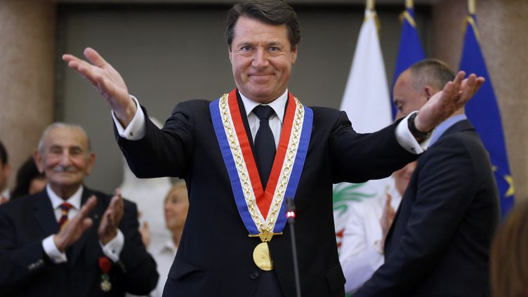 Le maire UMP de Nice (Alpes-Maritimes), Christian Estrosi, réélu lors du conseil municipal, le 4 avril 2014. (VALERY HACHE / AFP)