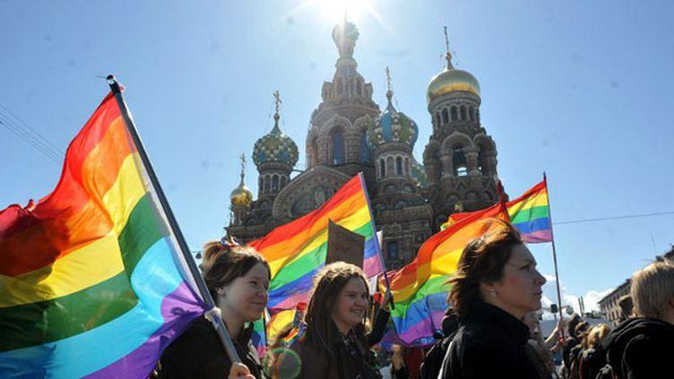 La cause homosexuelle manifeste à Moscou