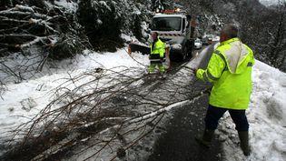De puissantes avalanches pouvant menacer les routes et peut-être même les habitations isolées sont redoutées dans lesPyrénées-Atlantiques et les Hautes-Pyrénées, le 16 janvier 2013. (MAXPPP )