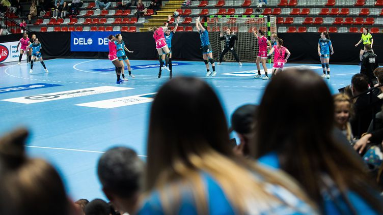 Match entre le RK Krim et Brest Bretagne Handball au 2ème tour de la Ligue des Champions, le 2 février 2020 à Ljubljana, Slovénie.  (VALANCIC / SPORTIDA/SIPA)