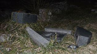 Plusieurs centaines de tombes d'un cimetière juif ont été profanées à Sarre-Union (Bas-Rhin), le 15 février 2015. (FREDERICK FLORIN / AFP)