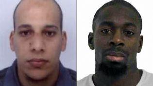 Des photos non datées de Chérif Kouachi et Amedy Coulibaly, diffusées par la police les 8 et 9 janvier 2015. (AFP / FRANCETV INFO)