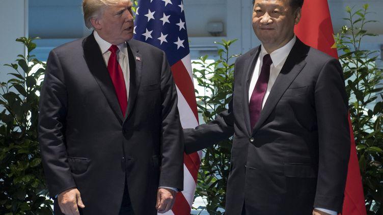 Les présidents américains et chinois, Donald Trump et Xi Jinping, lors du sommet du G20 à Hambourg (Allemagne), le 8 juillet 2017. (SAUL LOEB / AFP)
