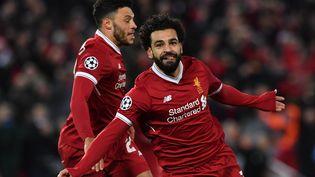 Mohamed Salah célèbre son but contre Manchester City, mercredi 4 avril 2018 à Liverpool. (ANTHONY DEVLIN / AFP)