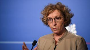 La ministre du Travail Muriel Pénicaud lors d'une conférence de presse à l'Élysée, le 27 avril 2018. (ERIC FEFERBERG / AFP)