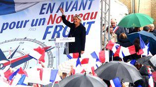 Marine Le Pen a tenu son discours de rentrée, le 9 septembre 2017 à Brachay (Hautre-Marne). (FRANCOIS NASCIMBENI / AFP)
