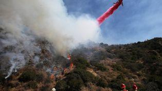 Les pompiers luttent contre un incendie près de Los Angeles, en Californie (Etats-Unis), le 21 octobre 2019. (MARIO TAMA / GETTY IMAGES NORTH AMERICA / AFP)
