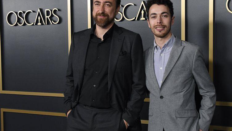 """Yves Piat et Damien Megherbi, respectivement réalisateur et producteur du court-métrage""""Nefta Football Club"""" en route pour l'Oscar. (STHANLEE MIRADOR/SIPA USA/SIPA / SIPA USA)"""